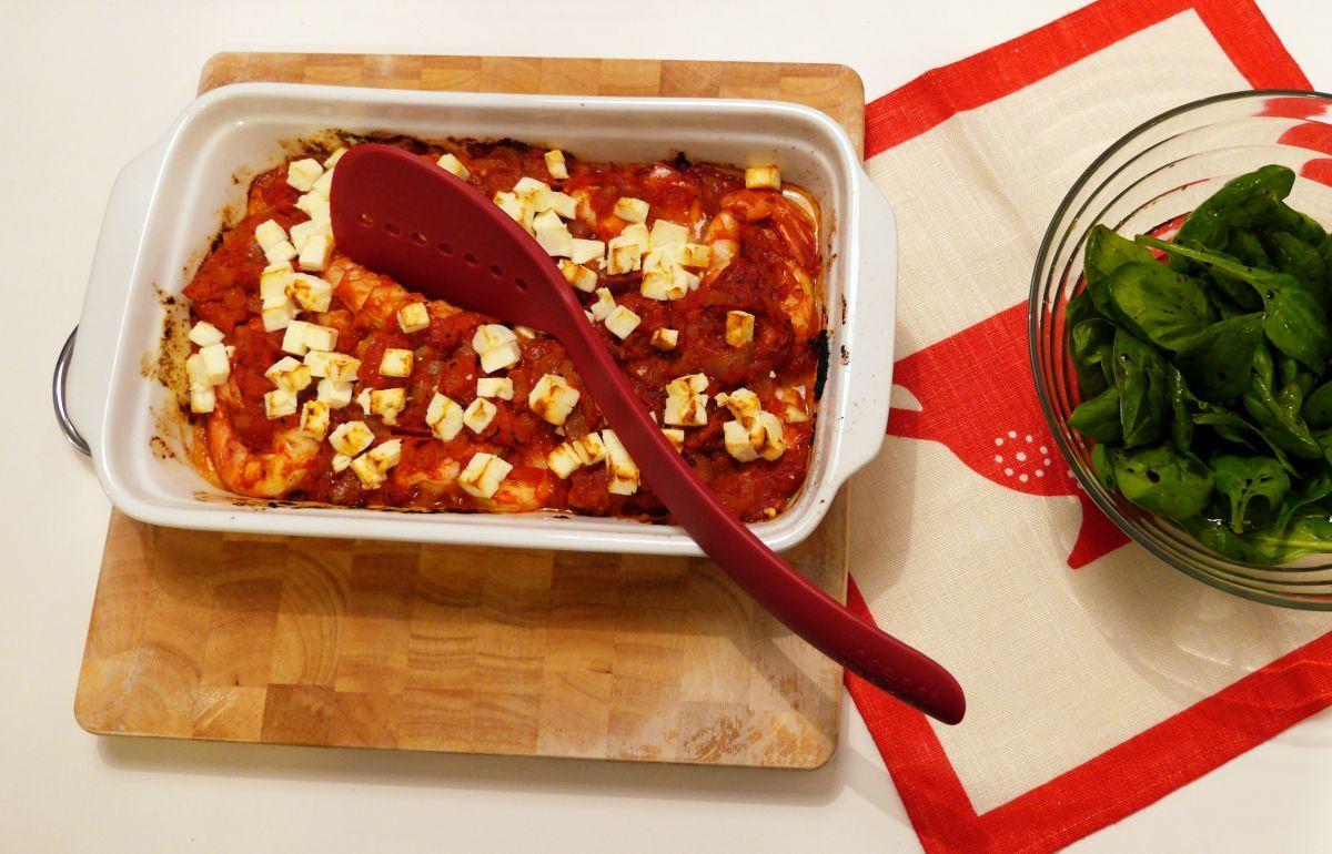 krewetki z pomidorami