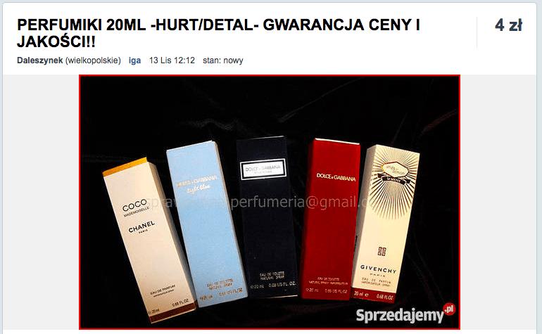 perfumy 20 ml podrobki cena