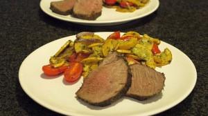 Pieczona wołowina z warzywami