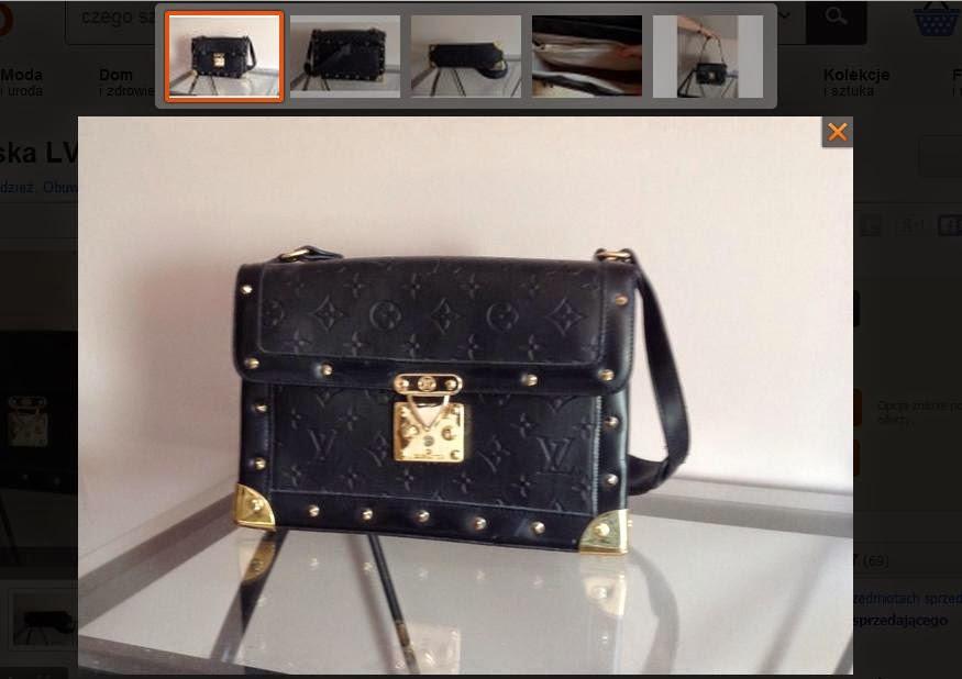 """de334695142fd W opisie czytamy: """"Mam do sprzedania torebkę kuferek Louis Vuitton. Została  zakupiona w sklepie vintage w Nowym Jorku w USA."""