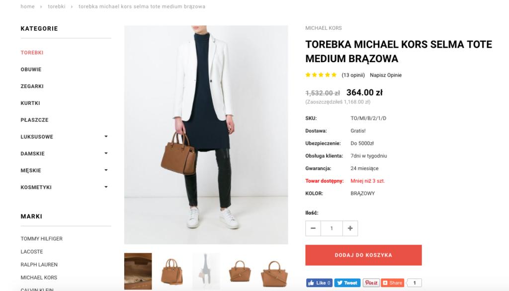 internetowy sklep podrobki screen kors selma