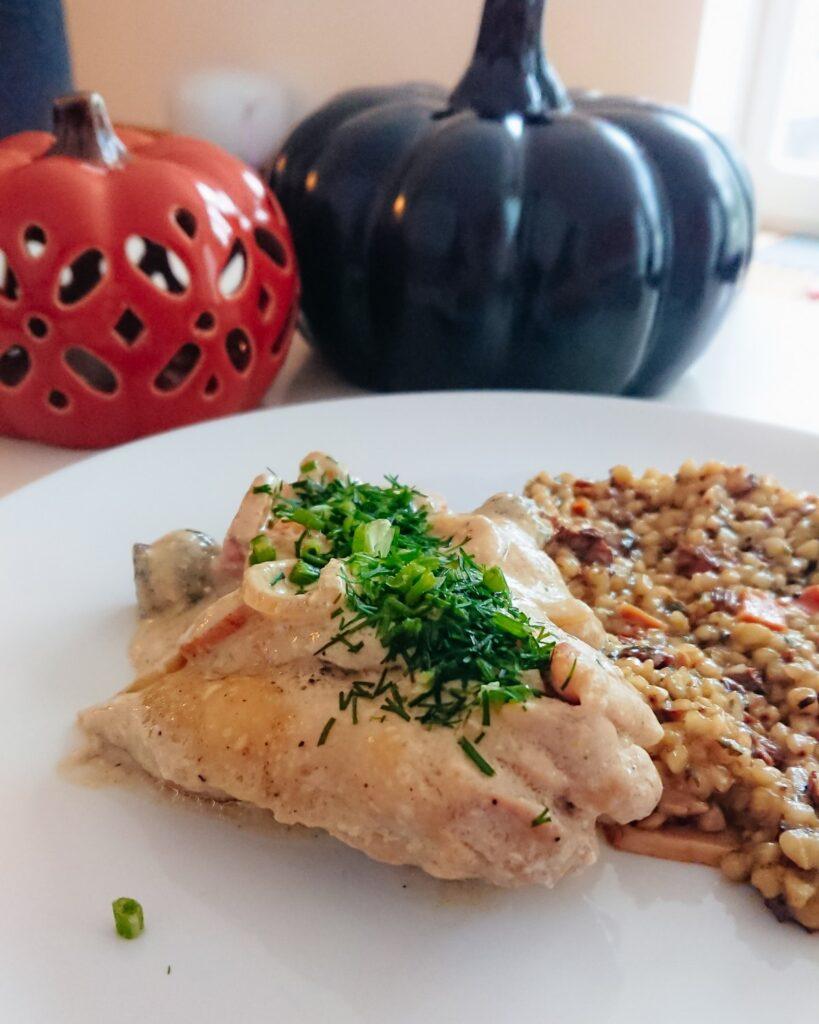 kurczak z warzywami w sosie musztardowym